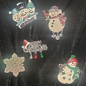 Snowman pins/brooches lot